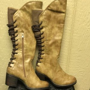 EXTREME EDDIE MARC Tall 2 Tone Zip Lace Up Boots